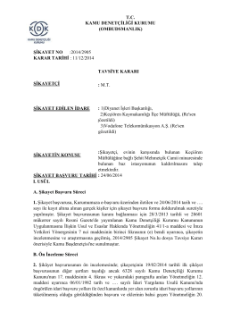 Dosya No: 2014/2905 - Kamu Denetçiliği Kurumu