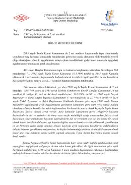 BÖLGE MÜDÜRLÜKLERİNE 2985 sayılı Toplu Konut Kanununun