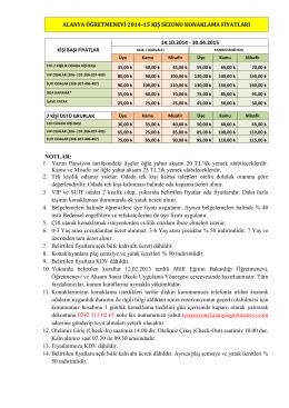 ALANYA ÖĞRETMENEVİ 2014-15 KIŞ SEZONU KONAKLAMA