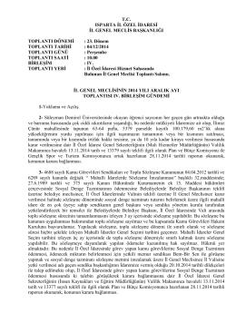 T.C. ISPARTA İL ÖZEL İDARESİ İL GENEL MECLİS BAŞKANLIĞI