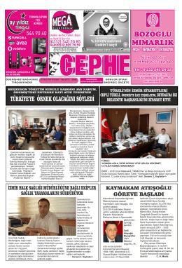 02.10.2014 Tarihli Cephe Gazetesi