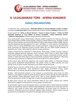 9. uluslararası türk - afrika kongresi sonuç deklarasyonu