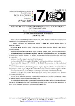 KATILIM KOŞULLARI (pdf) - 1001 Belgesel Film Festivali