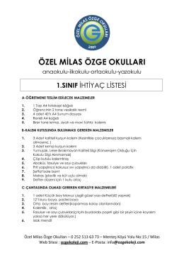 1. Sınıf İhtiyaç Listesi - Özel Milas Özge Okulları