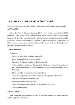 21. şube çalışma rapor özetleri