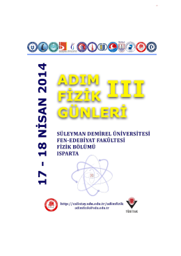 Adım Fizik Günleri III Süleyman Demirel Üniversitesi Fen Edebiyat