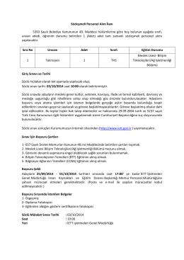 Sözleşmeli Personel Alım İlanı 5393 Sayılı Belediye Kanununun 49