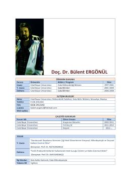 Doç. Dr. Bülent ERGÖNÜL - Celal Bayar Üniversitesi