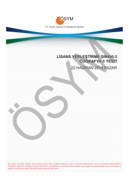 LİSANS YERLEŞTİRME SINAVI-3 COĞRAFYA