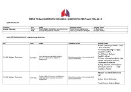 türk toraks derneği istanbul şubesi eylem planı 2014-2015