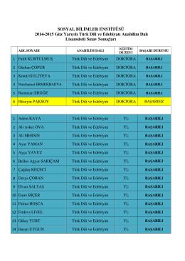 SOSYAL B L MLER ENST TÜSÜ 2014-2015 Güz Yarıyılı Türk Dili ve