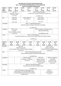 2014-2015 güz dönemi tüm programların haftalık ders programları
