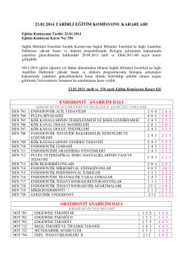 23.01.14 tarihli Eğitim Komisyonu Kararları