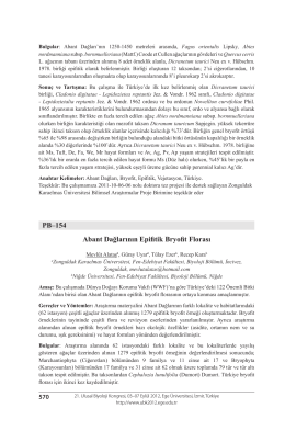 PB–154 Abant Dağlarının Epifitik Bryofit Florası
