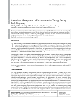 Anaesthetic Management in Electroconvulsive Therapy During Early