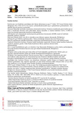 akdeniz ihracatçı birlikleri genel sekreterliği 8.1.2015 / 861