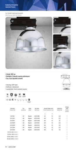 • Gövde: DKP sac • Reflektör: Eloksallı sıvanmış alüminyum • Duy