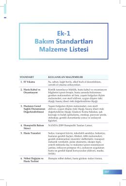 Ek-1 Bakım Standartları Malzeme Listesi