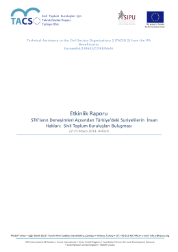 Sivil Toplum Kuruluşları Buluşması Etkinlik Raporu