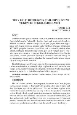 türk kültüründe iznik çinilerinin önemi ve güncel