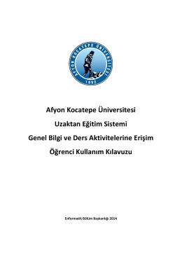 Uzaktan Eğitim Sistemi Genel Bilgi ve Ders Aktivitelerine Erişim