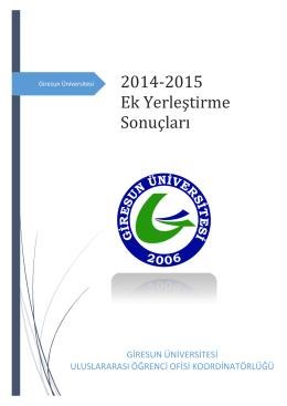 2014-2015 Ek Yerlestirme Sonuçlari
