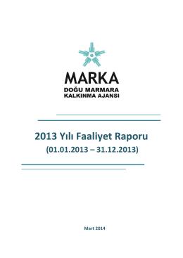 2013 Yılı Faaliyet Raporu - Doğu Marmara Kalkınma Ajansı