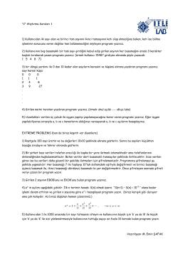 """""""C"""" Alıştırma Soruları 1 1) Kullanıcıdan iki sayı alan"""