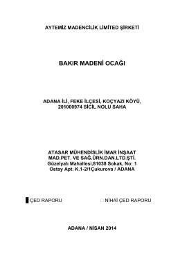bakır madenġ ocağı - Çevre ve Şehircilik Bakanlığı