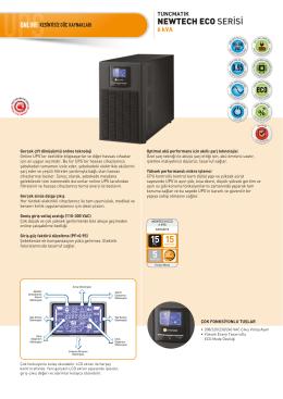 Newtech Eco 6 kVA Data Sheet Türkçe
