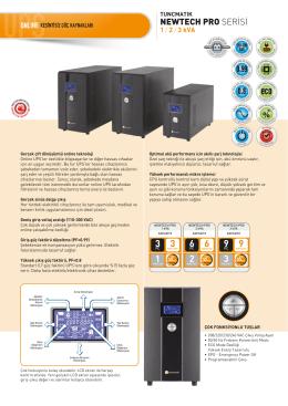 Newtech Pro 1-2-3 kVA Data Sheet Türkçe