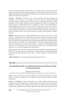 Keratinolitik Bacillus sp. Suşlarının İzolasyonu, Keratinaz Üretimive