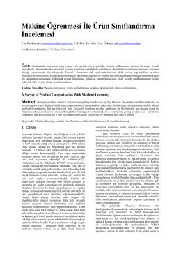 Makine Öğrenmesi İle Ürün Sınıflandırma İncelemesi