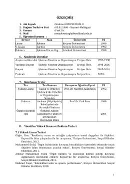 Özgeçmiş (PDF) - İktisadi ve İdari Bilimler Fakültesi