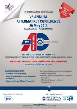 Vth ANNUAL AFTERMARKET CONFERENCE 29 May 2014
