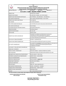 03.10.2014 / cuma geçerli nöbet listesi