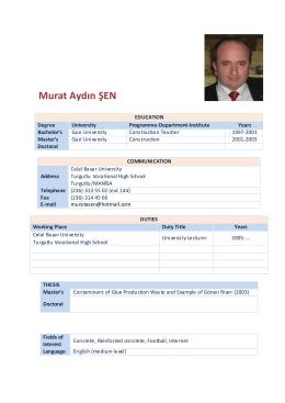 Murat Aydın ŞEN - Celal Bayar Üniversitesi