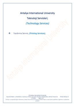 Printing Services - Uluslararası Antalya Üniversitesi