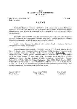K A R A R - Adana Büyükşehir Belediyesi