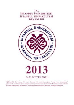 2013 yılı Dekanlık Faaliyet Raporu