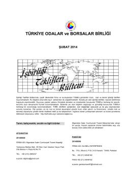 2014 Şubat (pdf-245 Kb) - Dünyadan İşbirliği Teklifleri