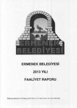 Ermenek Belediyesi 2013 Yılı Çalışma Raporu