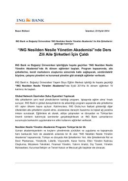 """ING Nesilden Nesile Yönetim Akademisi""nde Ders Zili"