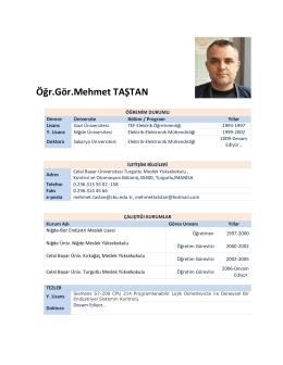 Öğr.Gör.Mehmet TAŞTAN - Celal Bayar Üniversitesi