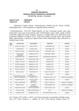 08.09.2014 Tarihli Yönetim Kurulu Kararı
