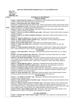 Genel Eylül 2014 Yarım Günlük Plan