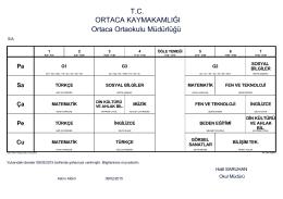 T.C. ORTACA KAYMAKAMLIĞI Ortaca Ortaokulu Müdürlüğü