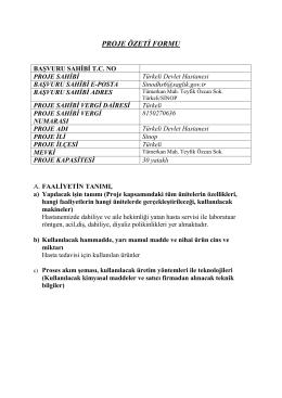 ÇED Proje Özeti - Türkeli Devlet Hastanesi