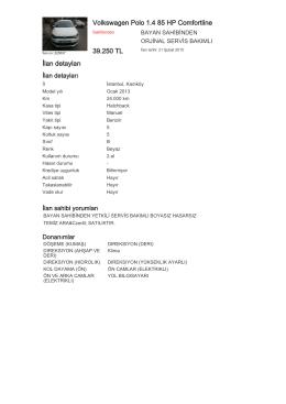 Volkswagen Polo 1.4 85 HP Comfortline 39.250 TL İlan detayları
