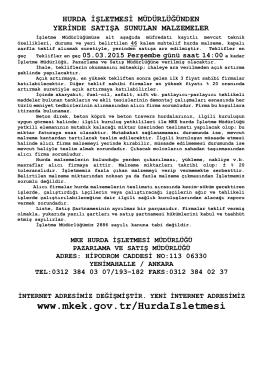 05.03.2015 Tarihli Yerinde Satış Hurda Malzeme Listesi
